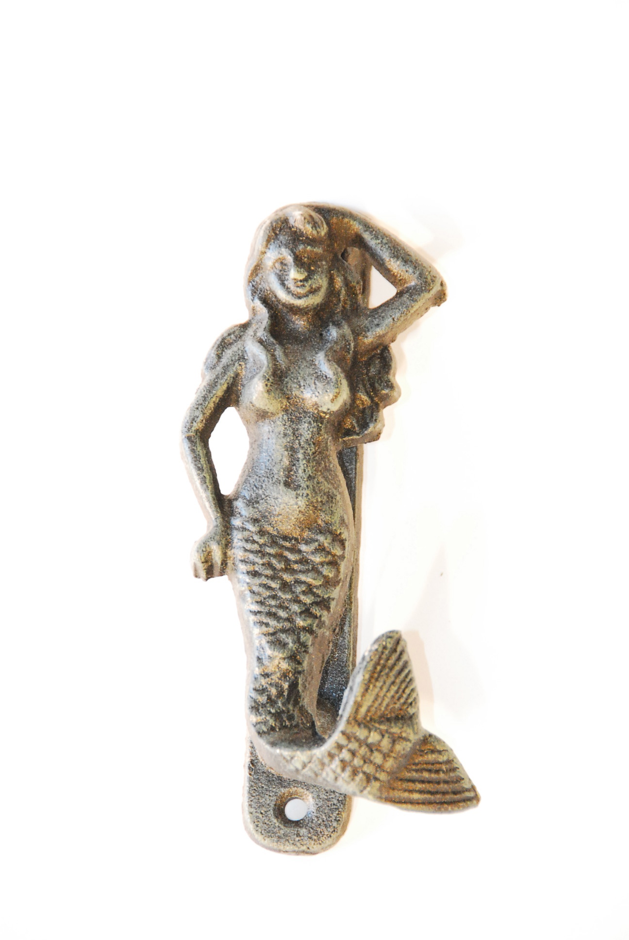 Mermaid Door Knocker, 6u2033 Long, Cast Iron, 6 In A Box