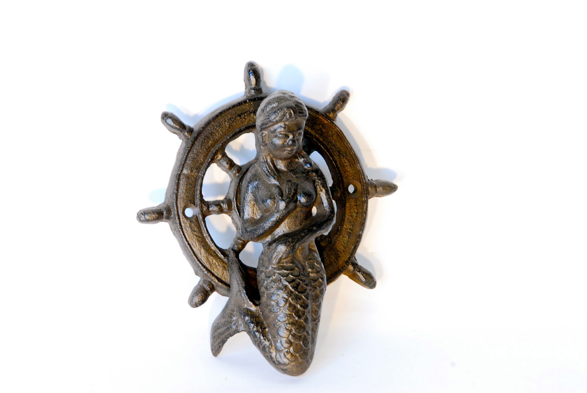 Mermaid/Ships Wheel Door Knocker U2013 Cast Iron 6u2033 X 5u2033  4 In A Box